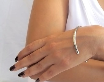 Sterling silver cuff bracelet, Oval bracelet made to order