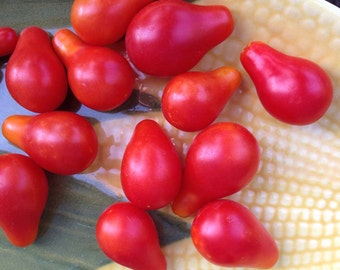 Cherry Tomato Seed, Red Pear Tomato Seeds, Heirloom Tomato Garden, Easy to Grow Cherry Tomatoes, Non GMO Vegetable Seeds, Red Pear Cherry