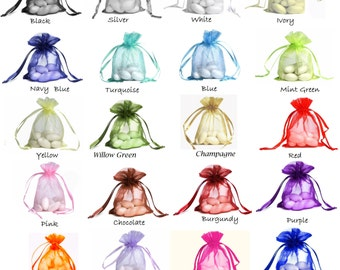 "5x7 ORGANZA SELECT COLOR custom list - 5""x7"" drawstring bag gift favor party bridal red blue green purple orange black gold navy pink Mint"