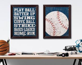 Baseball Vintage Weathered Wall Art Paper Prints