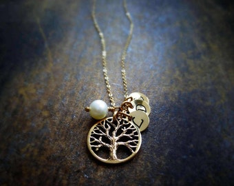 Personalized mothers necklace with initial charms, mother of the bride or groom gift, tree of life, family tree necklace, mothers day gift