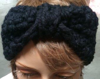 Earwarmer headband, crochet headband, Turban style Headband  Ear Warmer, Black headband Handmade  accessory