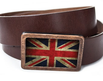 belt with wooden buckle, genuine leather
