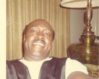 1960s Selfie by Dad African American Black Bald Man 60s Vintage Photograph Color Photo
