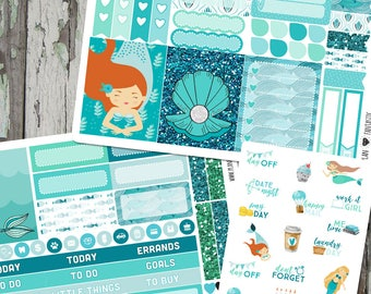 Mermaid Lagoon Weekly Planner Sticker Kit, Journal Stickers