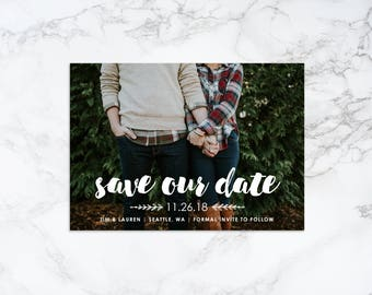 Printable Modern Save the Date Overlay Photo Card Invitation