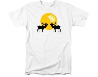Bugling Elk T-shirt, Yellow Moon, Woodland Animal, Silhouette Wildlife Art, Digital Southwestern Men or Women's T-Shirt, Uni-Sex Clothing