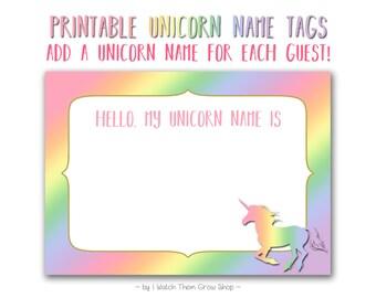 Rainbow Unicorn Name Tags, Printable Rainbow Unicorn Name Stickers, Unicorn Name Labels, Unicorn Party Birthday Baby Shower INSTANT DOWNLOAD