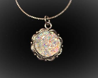 Blue or Iridescent Druzy - Silver tone adjustable Necklace - your choice