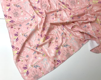 Organic Swaddle Blanket - Dreamcatchers and Floral in Pink - Cotton Knit OR Double Gauze Muslin