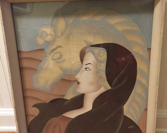 """WHITE HORSE and LADY in Cape Abstract Litho by Campbell, Mid Century, Modernism  17"""" X 19"""" Framed at Modern Logic"""