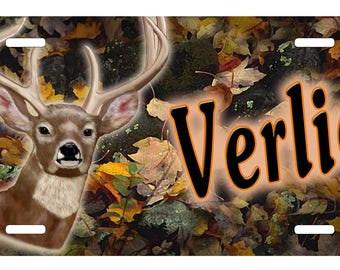 Buck Deer Fall Foliage Camouflage Auto License Plate Personalize Gifts Any Text Or Name Camo Hunting