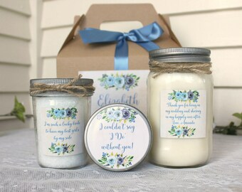Bridesmaid Gift Set / Spa Gift Set / Candle Gift Set / Personalized Bridesmaid's Gift / Bath Salt / Sugar Scrub / Navy Wedding