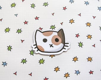 Cute Cat Magnet, Refrigerator Magnet, Calico Face, Fridge Magnet, Cubicle Decor, Kawaii Magnet, Funny Kitty, cat lover gift