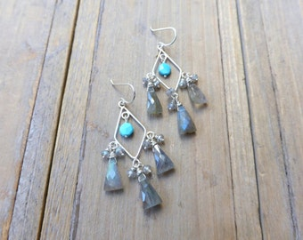 Sterling Diamond Labradorite Chandelier Earrings with Turquoise