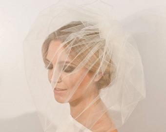 Tulle, Pouf Veil, Birdcage Veil, Blusher, Bridal Veil, Double Layer Tulle Veil, - JULIANE