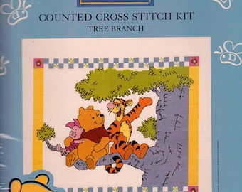 Pooh Tree Branch counted cross stitch kit, unopened cross stitch kit, home decor, gift, needle work kit, nursery decor, Winnie the Pooh
