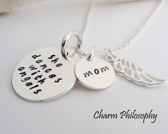 "Mom Memorial Necklace - ""She Dances with Angels"" - Angel Wing In Memory of Necklace - Grief Jewelry - Sympathy Gift"