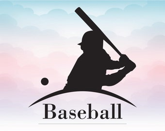 Baseball player SVG Baseball vector design for silhouette cameo cricut Baseball logo in Svg Png Pdf Dxf Ai Eps file
