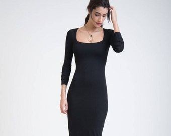 Pencil Dress / Fitted Black Dress / Square Neckline Dress / Casual Dress / Extra Long Sleeves Dress / Marcellamoda - MD0005