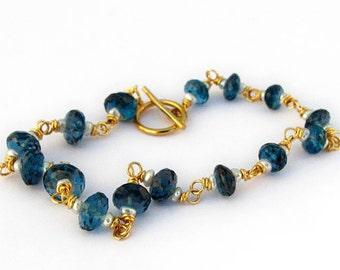 18k Gold London Blue Topaz Bracelet, 18k Gold Blue Topaz Bracelet
