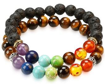 2 PACK CHAKRA BRACELETS  - Lava Rock diffusible pores and 7 Chakras + Tiger Eye Stone/adjustable Elastic String - Natural Real Beads/Stones