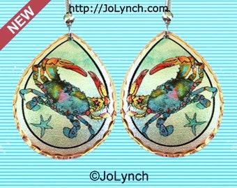 Crab Earrings Colorful Blue Crab Art Earrings