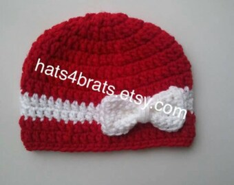 Baby Crochet Hat, Baby Girl Bow Hat, Crochet Hat, Newborn Hat, Infant Hat, Newborn Photo Prop, Baby Photo Prop, Newborn Crochet Hat, Bow Hat