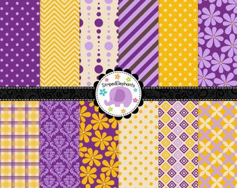 Yellow and Purple Digital Paper Pack, Digital Scrapbook Paper, Printable Paper, Instant Download, Commercial Use