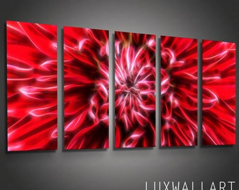 Abstract Metal Wall Art Red Flower