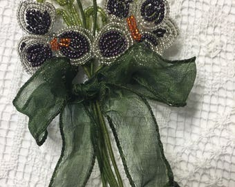 VINTAGE BEADED Flowers and Leaves from PARIS in Silver with Geen Ribbon