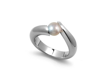 White Pearl Tension Set Tapered Ring in Stainless Steel