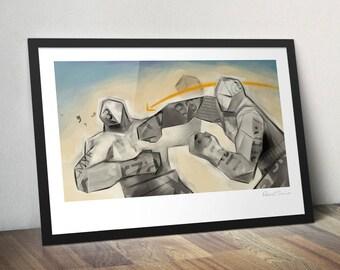 Paper Giants. Original illustration art poster giclée print signed by Paweł Jońca.
