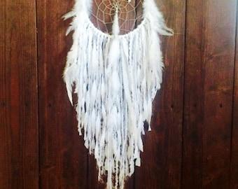 White Dream Catcher, White Dreamcatcher, Bohemian Decor, Wall Hanging Dream Catcher, Tapestry, Large White Dream Catcher, Large Dreamcatcher