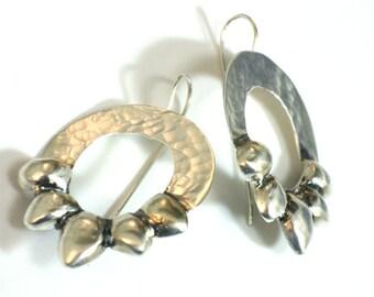 Hammered Dangle Earrings, Earrings Silver Dangle, Earrings Large, Large Hammered Dangles,  Hammered Silver Earrings, Dangle Handmade