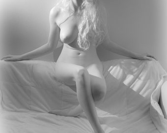 Artistic nude high key bw female blonde model in infrared fine art photo print wall art home decor - Silver Softness - 05