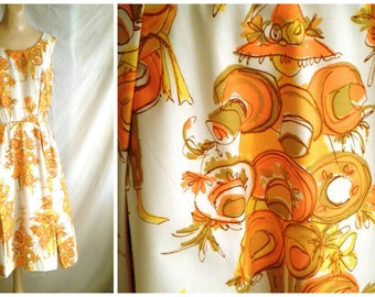 Vintage 1950's Dress Novelty Print Sundress Circle Skirt Fit and Flare Cotton  Bombshell 38 x 27
