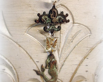 chandie candy one of a kind vintage assemblage vintage chandelier crystals verdigris mermaid and fleur de lis