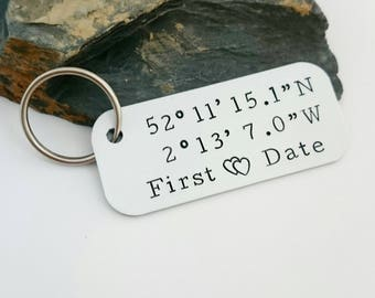 Coordinates Keyring - Latitude and Longitude GPS - Hand stamped co-ordinates keyfob - Custom Coordinates - Personalised Valentines Gift UK