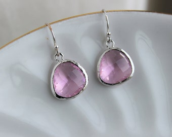 Silver Light Pink Earrings Blush Pink Jewelry - Pink Bridesmaid Earrings - Blush Wedding Earrings - Bridal Earrings - Wedding Jewelry