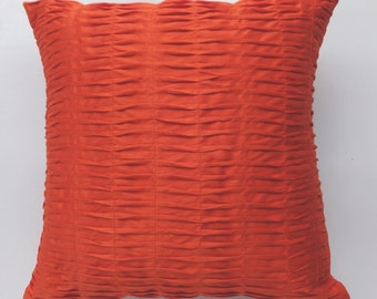 bright  red soft  satin pintuc pillow red  pleated threw  pillow 18 inch custom  made.