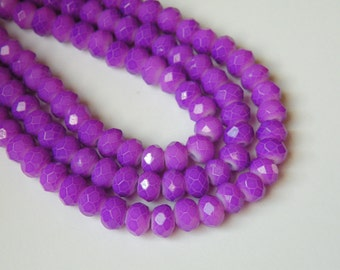 Plum Purple neon faceted glass rondelle beads 6x4mm half strand 06-950