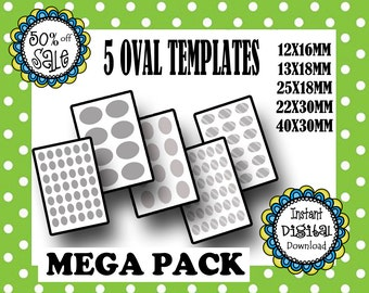 5 SIZES Oval Templates- Editable Oval Template - Jewelry Making- DIY Template- Commerical Use