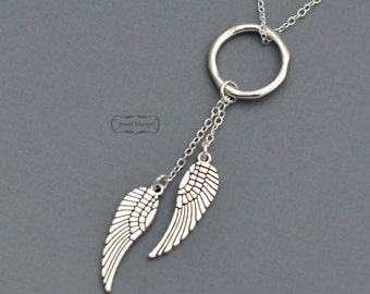 Angel wing necklace, halo, halo angel, Silver Wing, Angel Wing Pendant, Dainty everyday jewelry, Wing Pendant Necklace, angel necklace