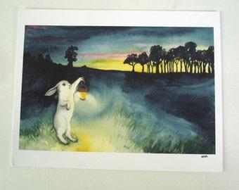 Lantern - Fine Art Print - Rabbit Art - Large Size