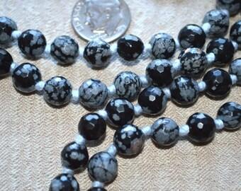Snowflake Obsidian Hand Knotted Mala Beads Necklace - Blessed Karma Nirvana Meditation 8 mm 108 Prayer Beads For Awakening Chakra Kundalini