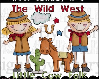Sweet Cowboy Kids Clipart Collection- Immediate Download