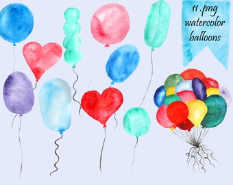 Balloons Watercolor Clip Art (Digital)