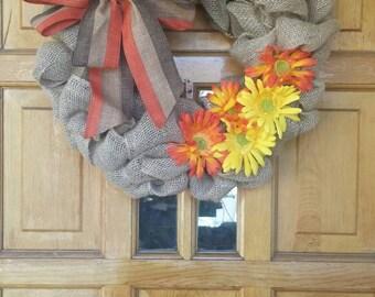 Burlap and Daisy Fall Wreath
