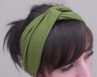 Stretchy Turban Headband - Avocado Green Headband - Yoga Headband - Workout Headband - Hair Accessory - Messy Bun